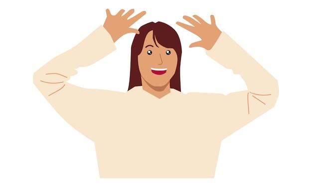Vrouw opgewonden houdt handen omhoog opgeheven armen