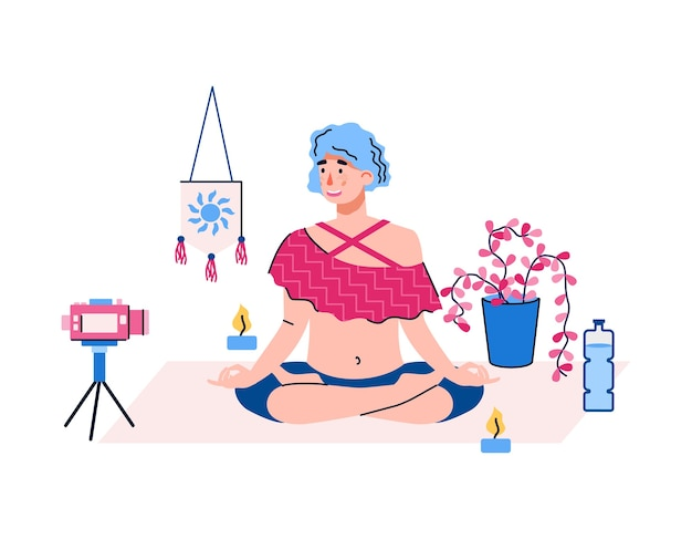 Vrouw opname video van yoga praktijk met camera voor blog, platte cartoon geïsoleerd op een witte achtergrond. blogger maakt inhoud voor yogakanaal.