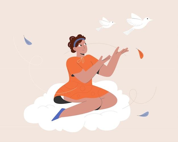Vrouw over wolk en vrije vogel