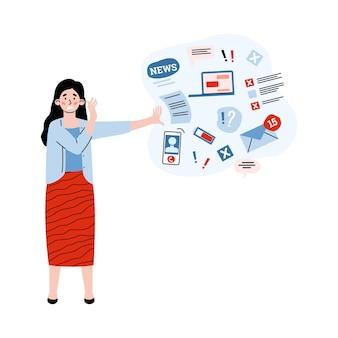 Vrouw overweldigd informatie in stress duwt gegevensstroom weg