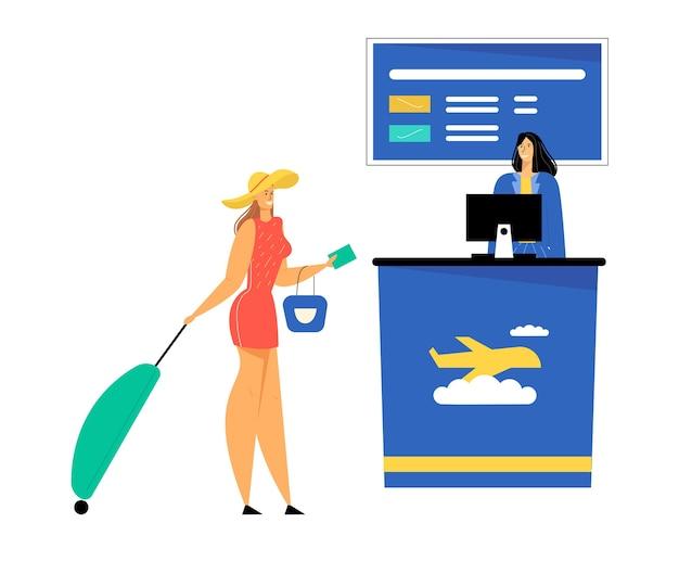 Vrouw passagier met bagagestandaard document geven