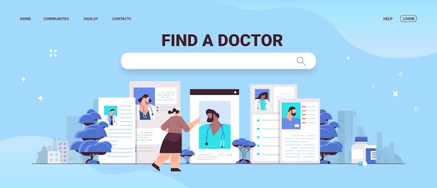 Vrouw patiënt kiezen huisarts in webbrowser windows gezondheidszorg geneeskunde