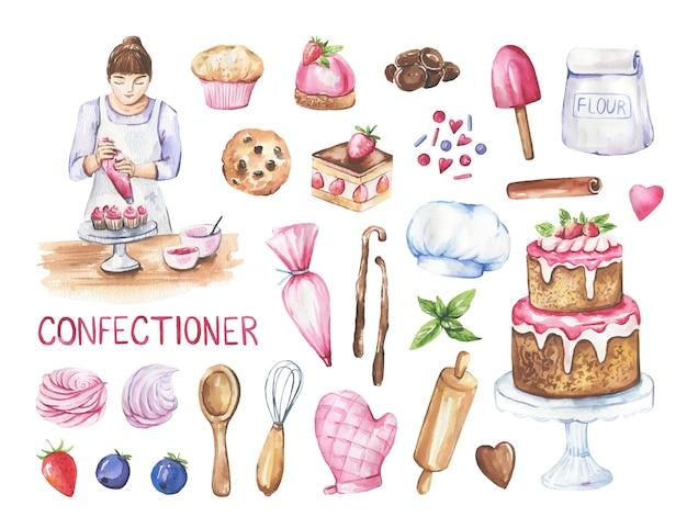 Vrouw patissier en verzameling van taarten, keukenartikelen.