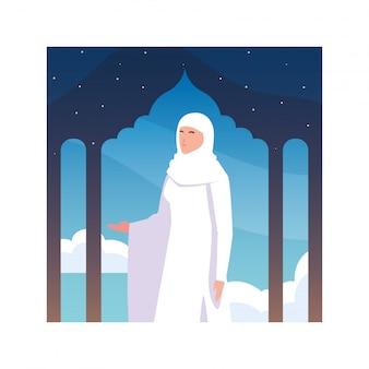 Vrouw pelgrim hadj staande, dag van dhul hijjah