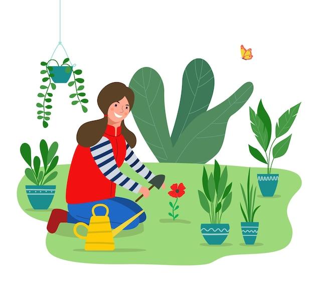 Vrouw plant bloemen in de tuin. vector vlakke stijlillustratie