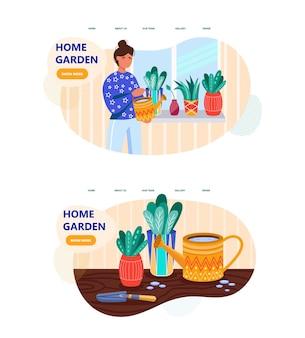 Vrouw planten water geven in het ontwerp van de bestemmingspagina van de huistuin