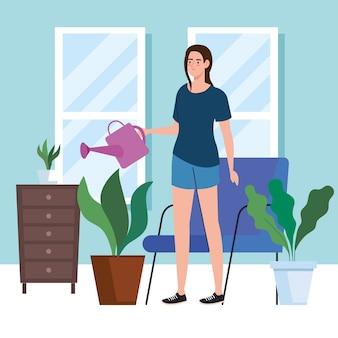 Vrouw planten water geven thuis ontwerp van activiteit vrije tijd en dagelijkse routine thema.