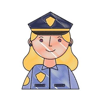 Vrouw, politie, officier, in, uniform, karakter, portrait