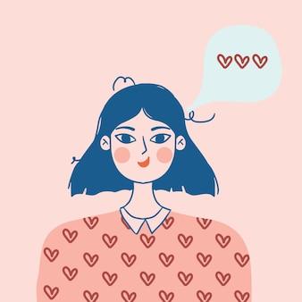 Vrouw portret praten over liefde. tekstballon met harten