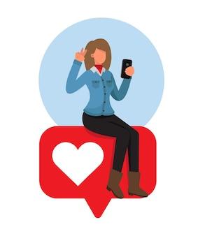 Vrouw poseren en nemen selfie op zoek naar likes