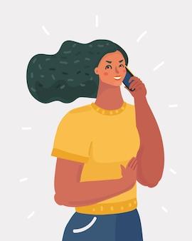 Vrouw praten via smartphone