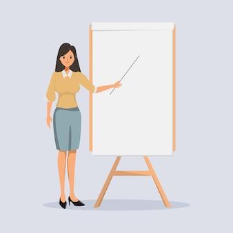 Vrouw presentatie karakter in bezetting