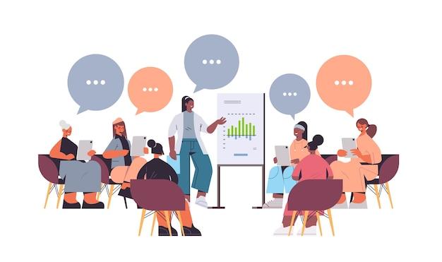 Vrouw presentatie van grafiek om race vriendinnen te mengen tijdens de bijeenkomst in de club van vrouwen meisjes ondersteunen elkaar chat bubble communicatie concept horizontale volledige lengte vectorillustratie