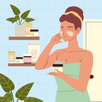 Vrouw proces zelf huidverzorging cosmetica