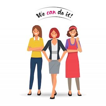 Vrouw professioneel team sterker concept.