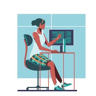 Vrouw programmeur of vrouwelijk programma ontwikkelingsconcept
