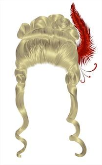 Vrouw pruik haren krullen. middeleeuwse stijl rococo, barok. hoge haarsnit met veer.