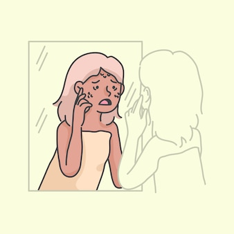 Vrouw puistje uitbraak laag zelfbeeld illustratie