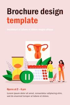 Vrouw raadpleging van vrouwelijke arts over menopauze en oestrogeenniveau. kleine karakters met kalender, zandloper en pauzeteken. illustratie voor gynaecologie, reproductieve gezondheidsproblemen concept
