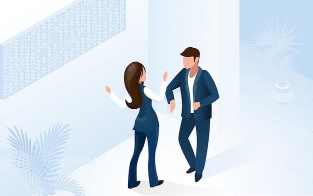 Vrouw receptionist manager help man tourist