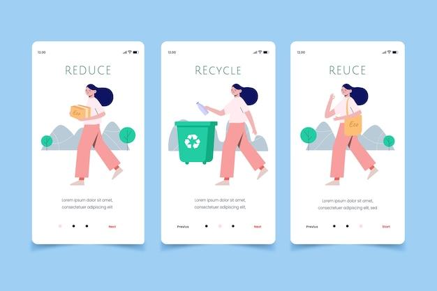 Vrouw recycling van mobiele app schermen