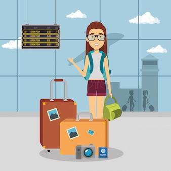 Vrouw reiziger op de luchthaven