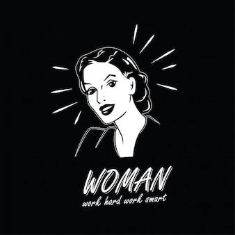 Vrouw, retro. werk hard, werk slim citaat