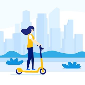 Vrouw rijden elektrische kick scooter in de stad, vector