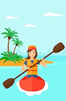 Vrouw rijden in kano