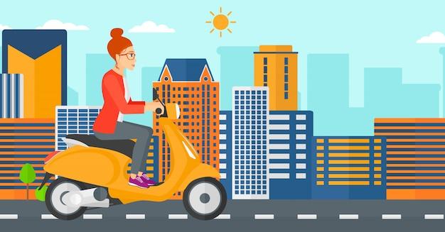 Vrouw rijden scooter.