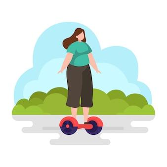 Vrouw rit balanceren scooter