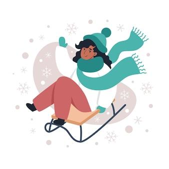 Vrouw rodelen in de winter, illustratie voor kerst- en nieuwjaarskaarten