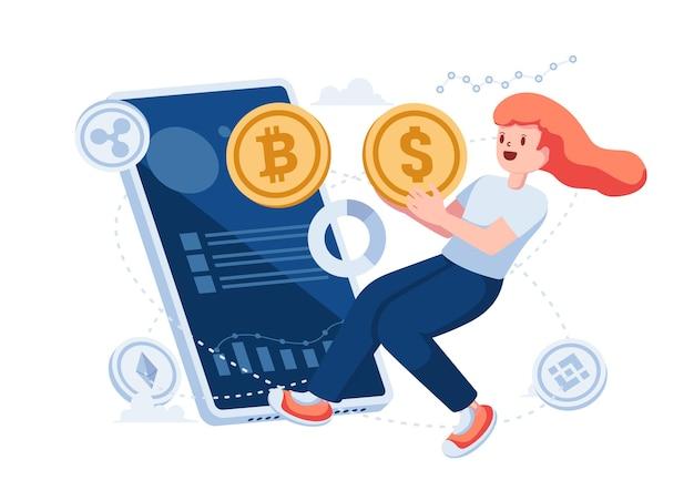 Vrouw ruilt dollarmunt in voor bitcoin via smartphone-app. cryptocurrency exchange handelsplatformconcept.