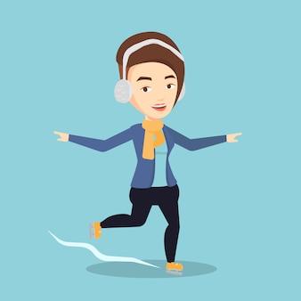 Vrouw schaatsen vectorillustratie.