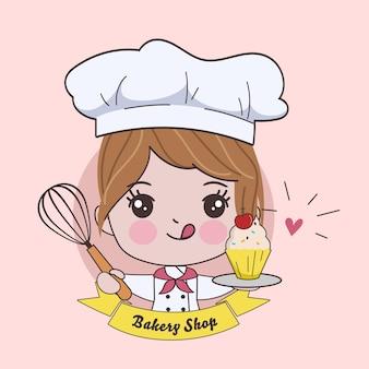 Vrouw schattige chef-kok kookt karakter. hand getekende illustratie.
