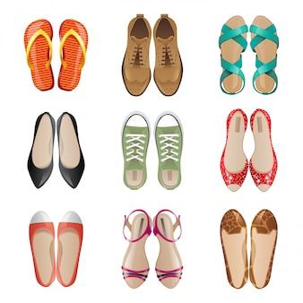 Vrouw schoenen icon set