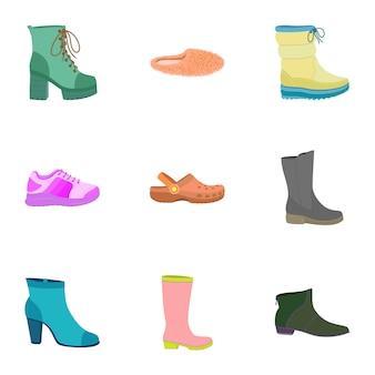 Vrouw schoenen set, vlakke stijl