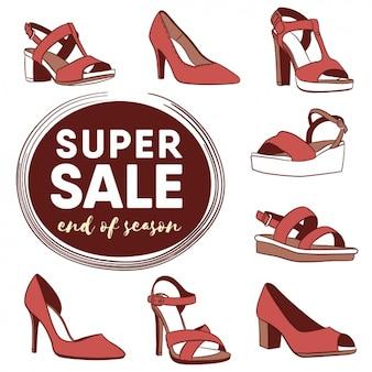 Vrouw schoenen verkoop designelementen