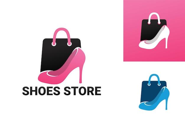Vrouw schoenen winkel logo sjabloon premium vector