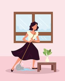 Vrouw schoner vloer dweilen