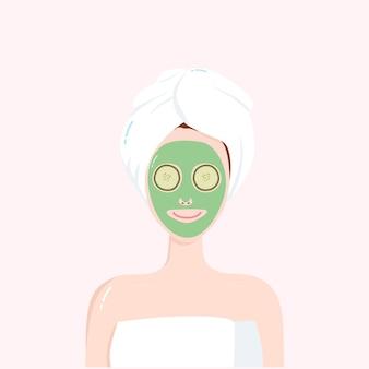 Vrouw schoonheid gezicht natuurlijk masker vector illustratie ontwerp