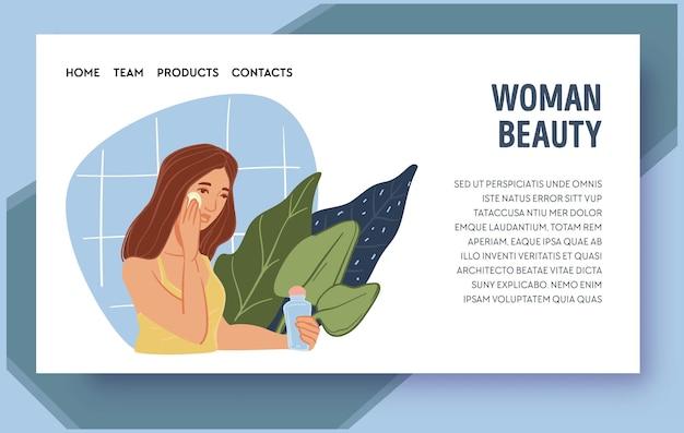 Vrouw schoonheid huidverzorgingsproducten en therapie web