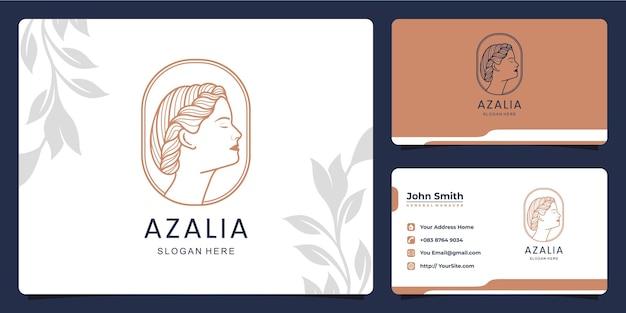 Vrouw schoonheid kapsalon en spa logo ontwerp en visitekaartje