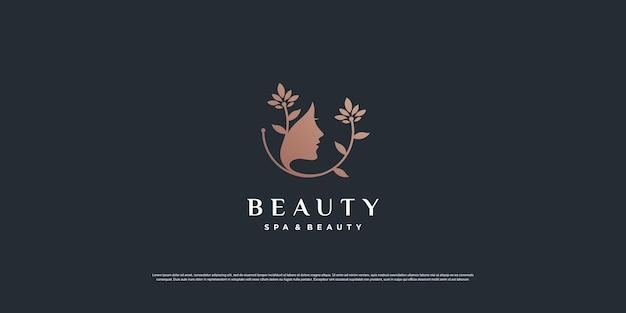 Vrouw schoonheid logo inspiratie met creatief concept premium vector