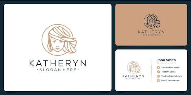Vrouw schoonheid logo ontwerp en visitekaartje