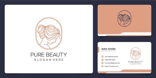 Vrouw schoonheid monoline logo ontwerp en visitekaartje