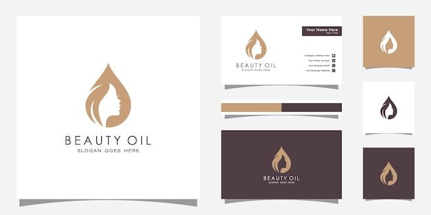 Vrouw schoonheid olie logo ontwerp met vrouw gezicht en olijfolie ontwerpsjabloon en visitekaartje