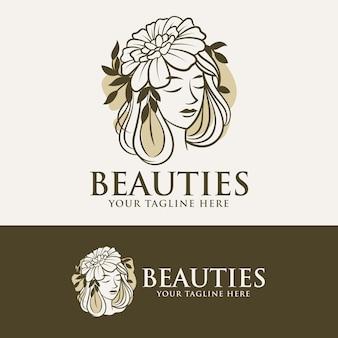 Vrouw schoonheid set logo sjabloon