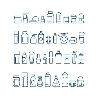Vrouw schoonheidsproducten, cosmetica, lichaam huidverzorging en make-up pakket vector iconen geïsoleerd