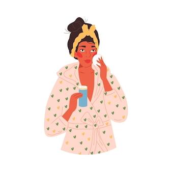 Vrouw schoonmaak gezicht met lotion of reinigingsmiddel platte vectorillustratie geïsoleerd